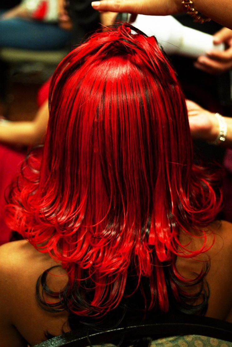 Red hair extensions, from behind