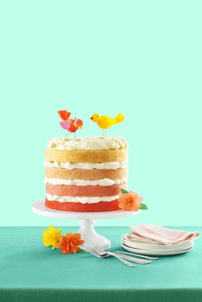 """<p>Make mom feel extra special by creating this showstopper of a springtime confection. </p><p><strong><em><a href=""""https://www.womansday.com/food-recipes/food-drinks/recipes/a54430/pink-ombre-cake-with-buttercream-recipe/"""" rel=""""nofollow noopener"""" target=""""_blank"""" data-ylk=""""slk:Get the Pink Ombré Cake recipe."""" class=""""link rapid-noclick-resp"""">Get the Pink Ombré Cake recipe.</a> </em></strong><br></p>"""