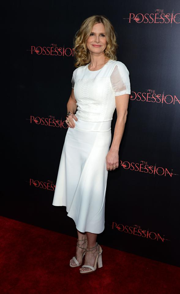 "HOLLYWOOD, CA - AUGUST 28:  Actress Kyra Sedgwick arrives at the Premiere of Lionsgate Films' ""The Possession"" at ArcLight Cinemas on August 28, 2012 in Hollywood, California.  (Photo by Frazer Harrison/Getty Images)"