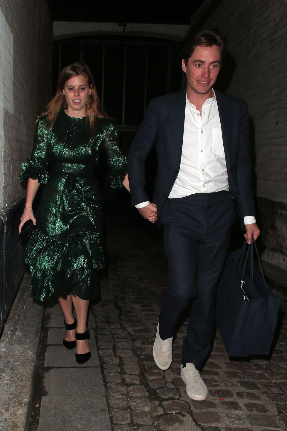 <p>For their first public appearance after their engagement, Beatrice and Edo held hands while attending <em>The Dior Sessions</em> book launch.</p>