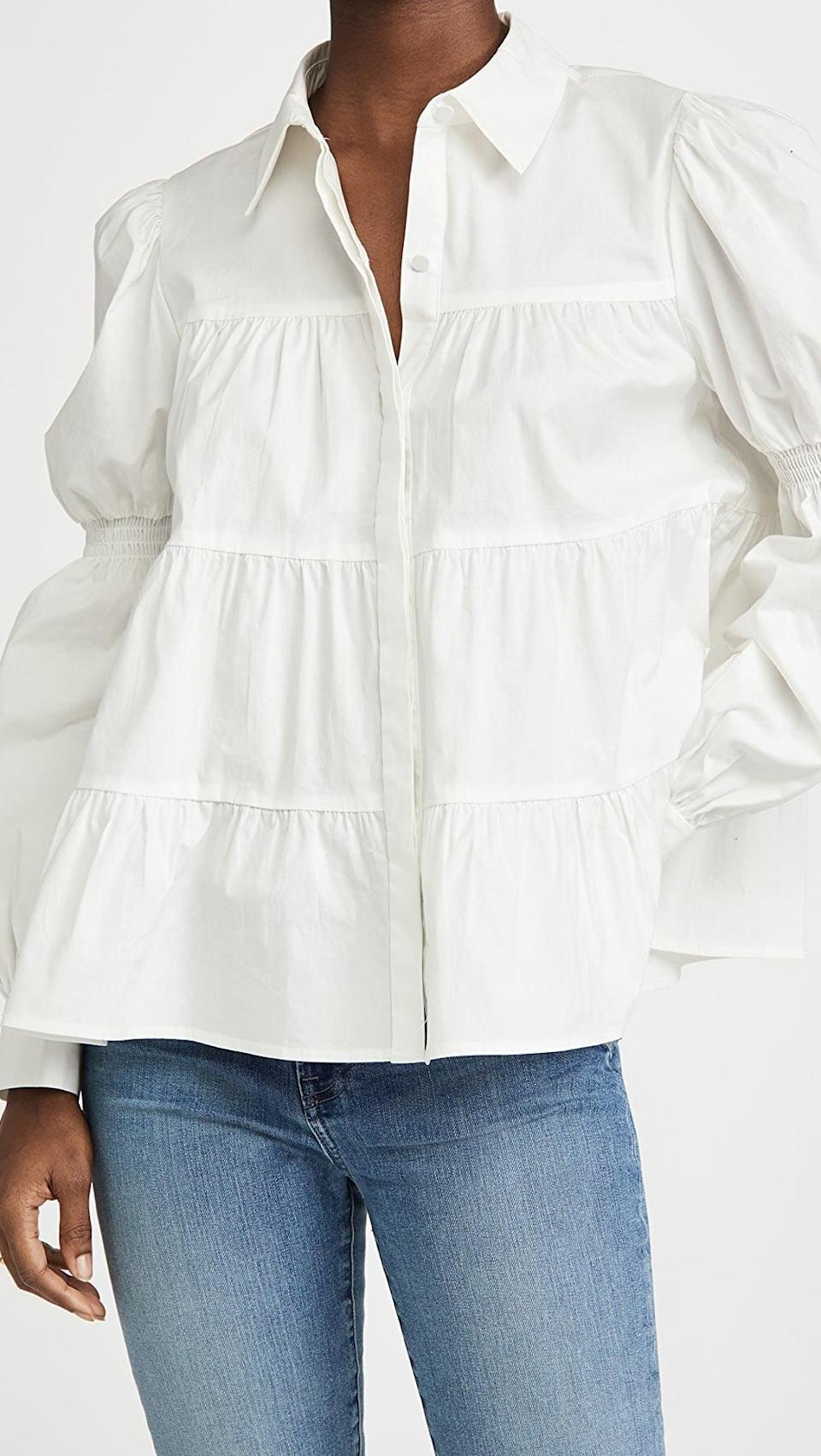 <p>This <span>WAYF Hope Tiered Button-Up Blouse</span> ($89) is great for work Zoom meetings.</p>