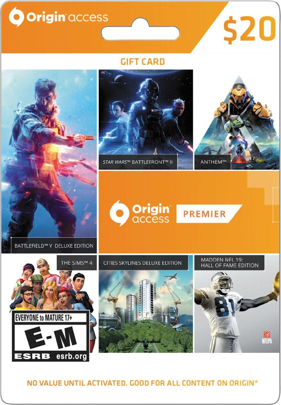 "<h2>EA Origin $20 Gift Card</h2><br>And of course, if your gift recipient doesn't have every Sims game yet, you can always help them complete their collection with an EA gift card.<br><br><strong>Electronic Arts</strong> EA Origin $20 Gift Card, $, available at <a href=""https://go.skimresources.com/?id=30283X879131&url=https%3A%2F%2Fwww.bestbuy.com%2Fsite%2Felectronic-arts-origin-access-20-v18%2F6291830.p%3FskuId%3D6291830"" rel=""nofollow noopener"" target=""_blank"" data-ylk=""slk:Best Buy"" class=""link rapid-noclick-resp"">Best Buy</a>"
