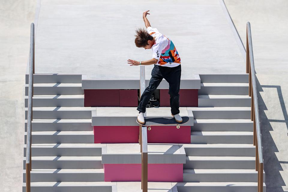 TOKYO, JAPAN - JULY 25: Yuto Horigome of Team Japan competes at the Skateboarding Men's Street Finals on day two of the Tokyo 2020 Olympic Games at Ariake Urban Sports Park on July 25, 2021 in Tokyo, Japan. (Photo by Dan Mullan/Getty Images)