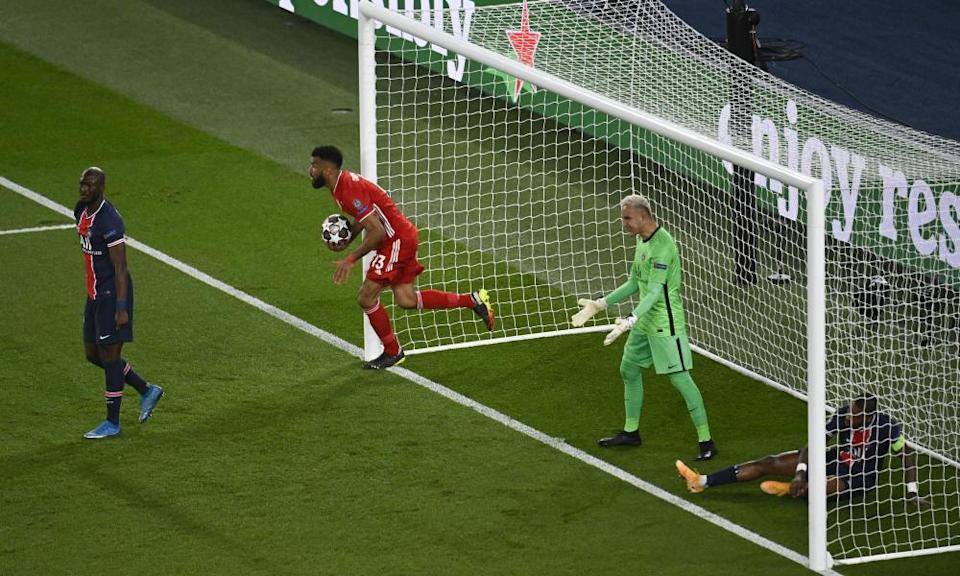 Eric Maxim Choupo-Moting races back with the ball after scoring for Bayern Munich but his goal was not enough.