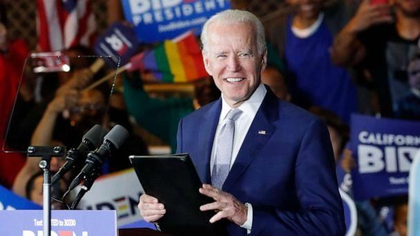 PHOTO: Democratic presidential candidate and former Vice President Joe Biden appears at his Super Tuesday night rally in Los Angeles, March 3, 2020. (Mike Blake/Reuters)