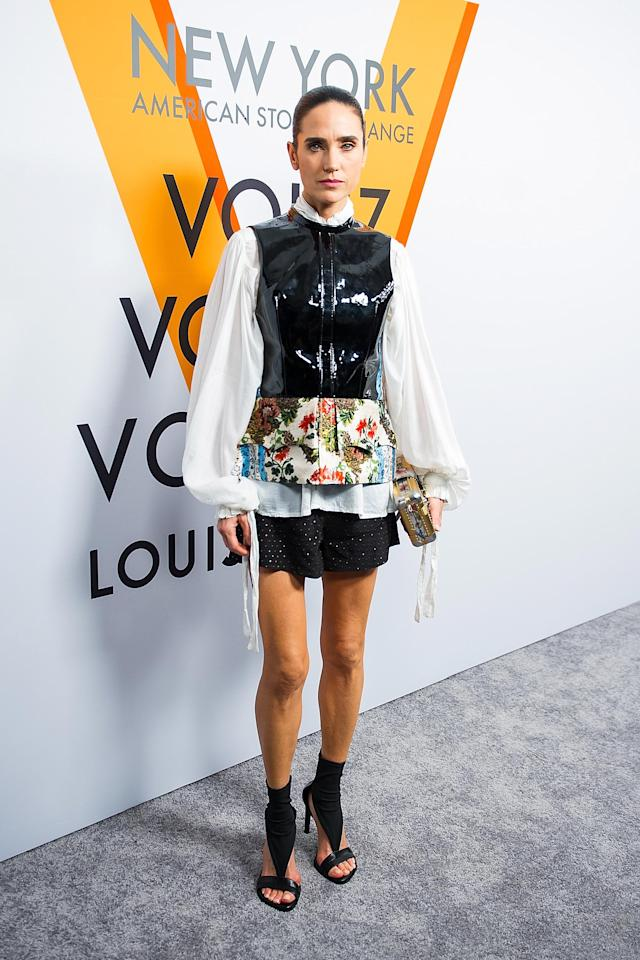 "Jennifer Connelly at the Louis Vuitton ""Volez, Voguez, Voyagez"" exhibit in New York City. (Photo: Getty Images)"