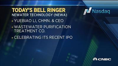Today's bell ringers are Brian Langstraat, Parametric CEO, at the NYSE, and Yuebiao Li, Newater Technology chairman and CEO, at the Nasdaq.