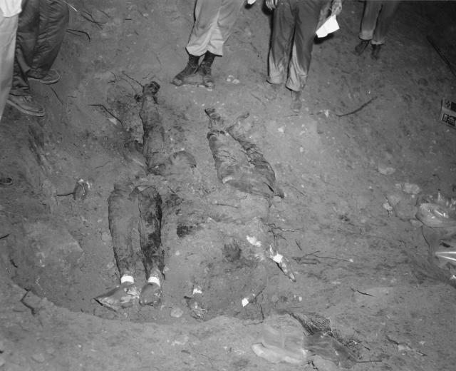 <p>FBI photo shows the bodies of Schwerner, Chaney and Goodman being recovered from an earthen dam just southwest of Philadelphia, Mississippi. This FBI photograph, entered as evidence by the prosecution in the Edgar Ray Killen trial, shows the bodies of Michael Schwerner, James Chaney and Andrew Goodman being recovered from an earthen dam just southwest of Philadelphia, Mississippi on August 4, 1964. Accused Ku Klux Klansman Killen was implicated in the killing of a civil rights worker in testimony from a now-deceased Klansman read in court on June 17, 2005. (Photo: Handout/Reuters) </p>