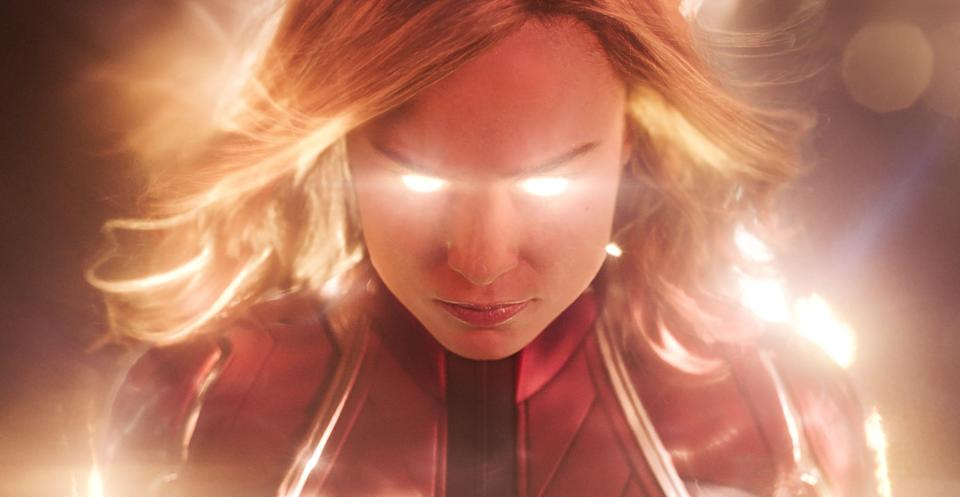 """Captain Marvel (Brie Larson) explodes into the Marvel universe in her own solo movie a month before she has a role in """"Avengers: Endgame."""""""