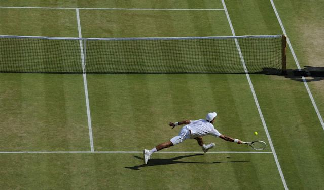 Serbia's Novak Djokovic in his Men's Final against Great Britain's Andy Murray during day thirteen of the Wimbledon Championships at The All England Lawn Tennis and Croquet Club, Wimbledon.