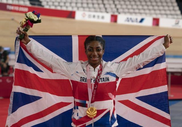 Kadeena Cox celebrates as she retained her C4-5 500m time trial title