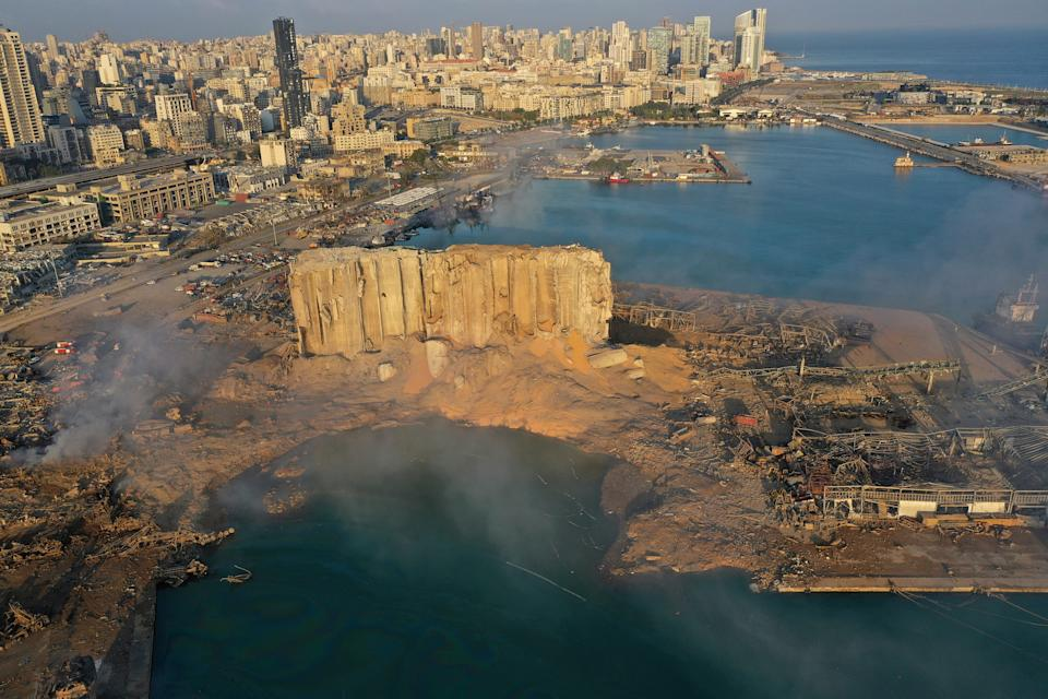 A drone photograph on Aug. 5, 2020 shows the scene of an explosion that hit the seaport of Beirut, Lebanon. A massive explosion rocked Beirut on Tuesday, flattening much of the city's port, damaging buildings across the capital and sending a giant mushroom cloud into the sky.