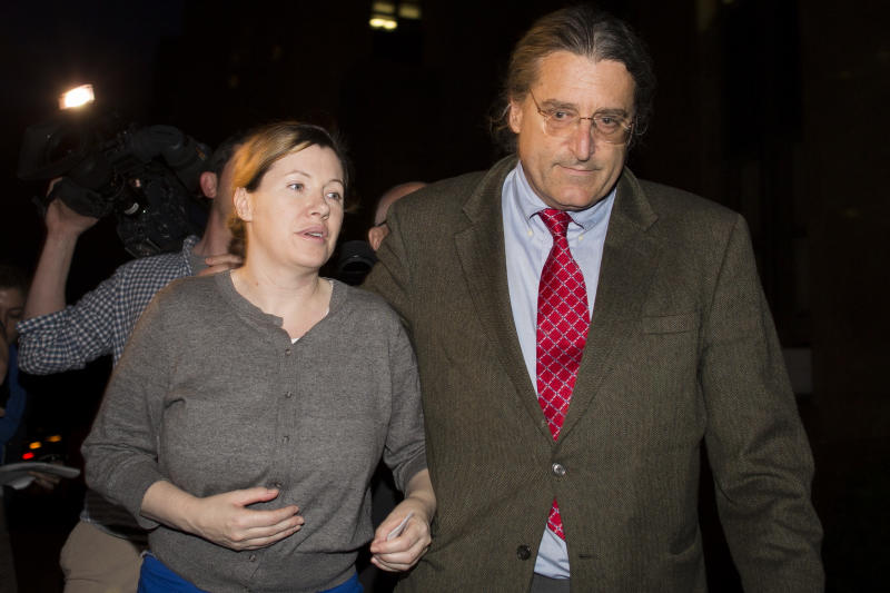 Anna Gristina, left, walks alongside her lawyer, Norman Pattis, after leaving Manhattan Criminal Court, Tuesday, June 26, 2012, in New York. Gristina has pled not guilty to charges of promoting prostitution after being accused of running a high-end Manhattan escort service. (AP Photo/John Minchillo)