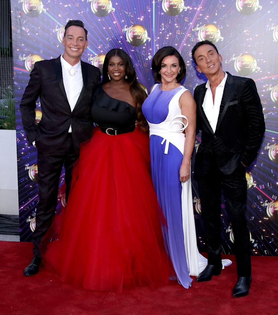 """Craig Revel Horwood, Motsi Mabuse, Shirley Ballas and Bruno Tonioli attend the """"Strictly Come Dancing"""" launch show red carpet at Television Centre on August 26, 2019 in London, England. (Photo by Mike Marsland/WireImage)"""