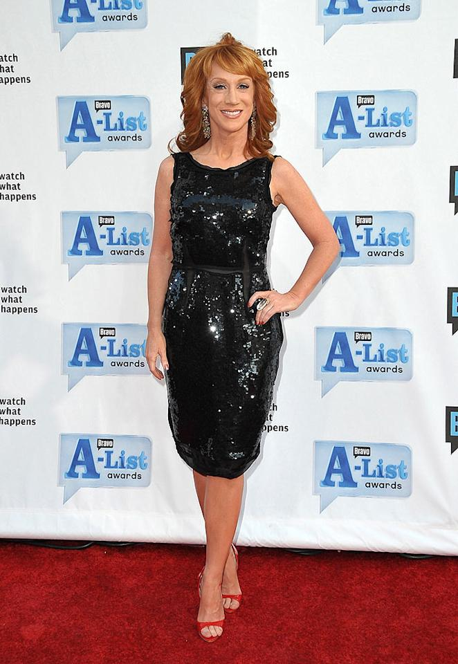 "Kathy Griffin proved she is definitely A-list in a sparkling black sheath at Bravo's second annual A-List Awards show. The funny lady hosted the event at the Orpheum Theatre in downtown Los Angeles. Jordan Strauss/<a href=""http://www.wireimage.com"" target=""new"">WireImage.com</a> - April 5, 2009"