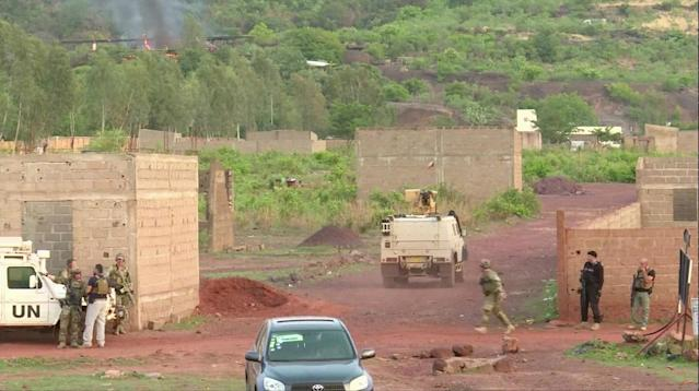 <p>An armoured vehicle drives towards Le Campement Kangaba resort following an attack where gunmen stormed the resort in Dougourakoro, to the east of the capital Bamako, Mali in this still frame taken from video June 18, 2017. (Reuters TV) </p>