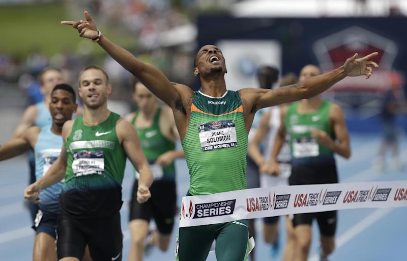Duane Solomon reacts as he wins the senior men's 800-meter run at the U.S. Championships athletics meet on Sunday, June 23, 2013, in Des Moines, Iowa. (AP Photo/Charlie Neibergall)