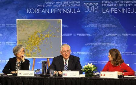 South Korean Minister of Foreign Affairs Kang Kyung-wha, U.S. Secretary of State Rex Tillerson and Canada's Minister of Foreign Affairs Chrystia Freeland attend the Foreign Ministers' Meeting on Security and Stability on the Korean Peninsula in Vancouver, British Columbia, Canada January 16, 2018. REUTERS/Ben Nelms