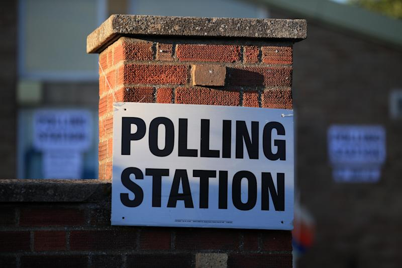 A sign is seen at The Christ the Carpenter church Hall polling station in Peterborough, England on June 6, 2019. - A local by-election was triggered when Peterborough's former MP Fiona Onasanya was sacked by her constituents in the first successful re-call petition prompting a by-election. (Photo by Lindsey Parnaby / AFP) (Photo credit should read LINDSEY PARNABY/AFP via Getty Images)