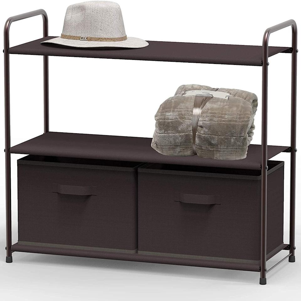 <p>Organize your entryway or closet with this <span>Simple Houseware 3-Tier Closet Storage With 2 Drawers</span> ($23). It's perfect for storing and organizing toys, books, clothes, and more.</p>