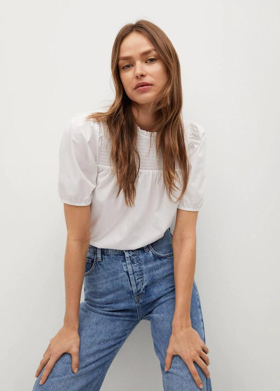 <p>You can easily tuck this <span>Mango Lace Cotton Shirt</span> ($40) in your favorite denim skirt or jeans.</p>