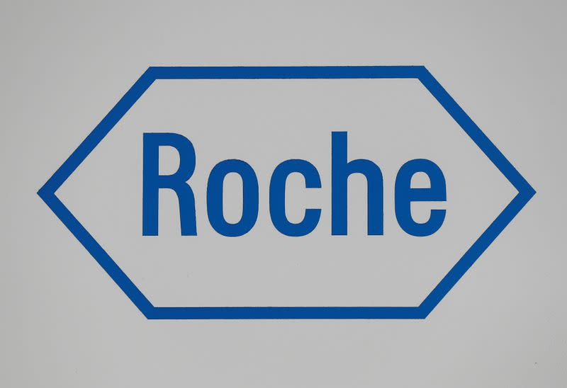 FILE PHOTO: A sign at a diagnostics site for Swiss pharmaceutical giant Roche is seen as the company said problems at a new warehouse delayed the dispatch of some products