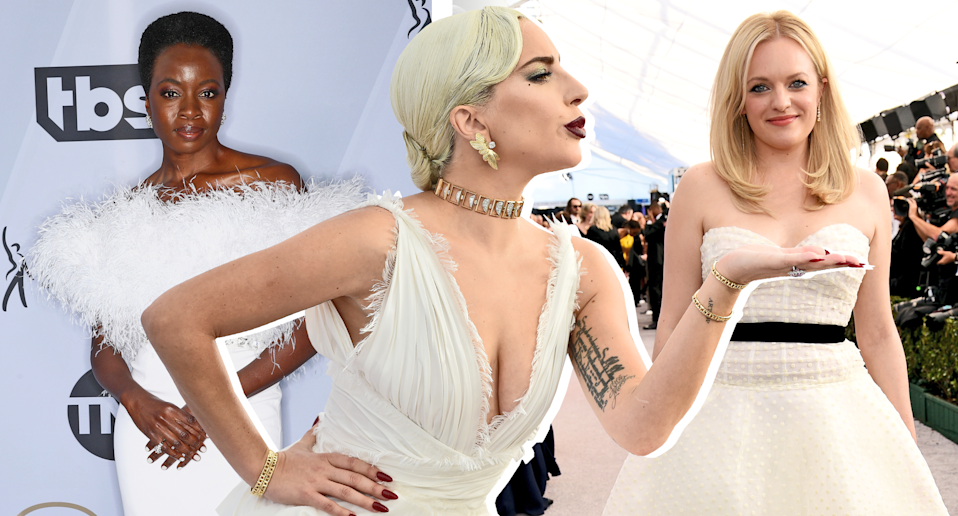 Lady Gaga, Elisabeth Moss and Danai Gurira were among those attending the 2019 SAG awards in wedding-inspired gowns. (Photos: Getty Images. Photo illustration: Yahoo Lifestyle)