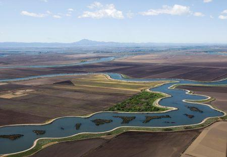 An aerial view of the Sacramento-San Joaquin Delta in California in this file photo taken on April 15, 2009