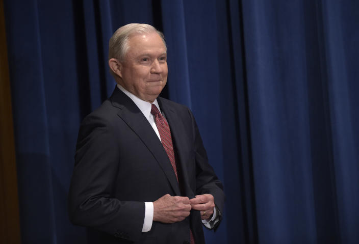 Attorney General Jeff Sessions makes a statement at the Justice Department in Washington Sept. 5, on President Barack Obama's Deferred Action for Childhood Arrivals, or DACA, program. (Photo: Susan Walsh/AP)
