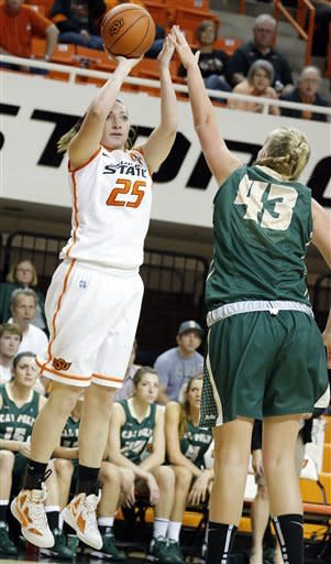 Oklahoma State's Lindsey Keller (25) shoots over Cal Poly's Molly Schlemer (43)during an NCAA women's college basketball game in Stillwater, Okla., Friday, Nov. 9, 2012. (AP Photo/The Oklahoman, Sarah Phipps)