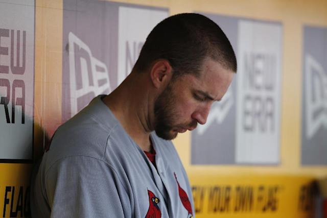 St. Louis Cardinals starting pitcher Adam Wainwright sits in the dugout during the sixth inning of a baseball game against the Pittsburgh Pirates in Pittsburgh, Wednesday, Aug. 27, 2014. The Pirates won 3-1. (AP Photo/Gene J. Puskar)