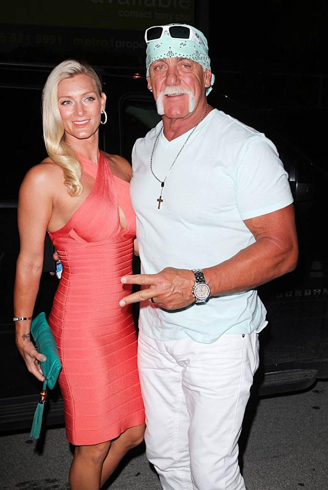 "Former pro wrestler and reality star Hulk Hogan brought his wife of 10 months, Jennifer McDaniel, with him to attend daughter Brooke's portrait unveiling at a charity exhibit benefiting People for the Ethical Treatment of Animals at Miami's Cafeina Lounge. Some people think Jennifer, who's in her mid-30s, looks a lot like 23-year-old Brooke. Do you agree? John Parra/<a href=""http://www.wireimage.com"" target=""new"">WireImage.com</a> - August 11, 2011"