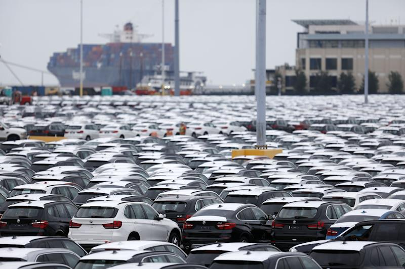 Bayerische Motoren Werke AG (BMW) vehicles, assembled in the U.S., sit parked before being driven onto vehicle carrier ships at the Port of Charleston in Charleston, South Carolina.