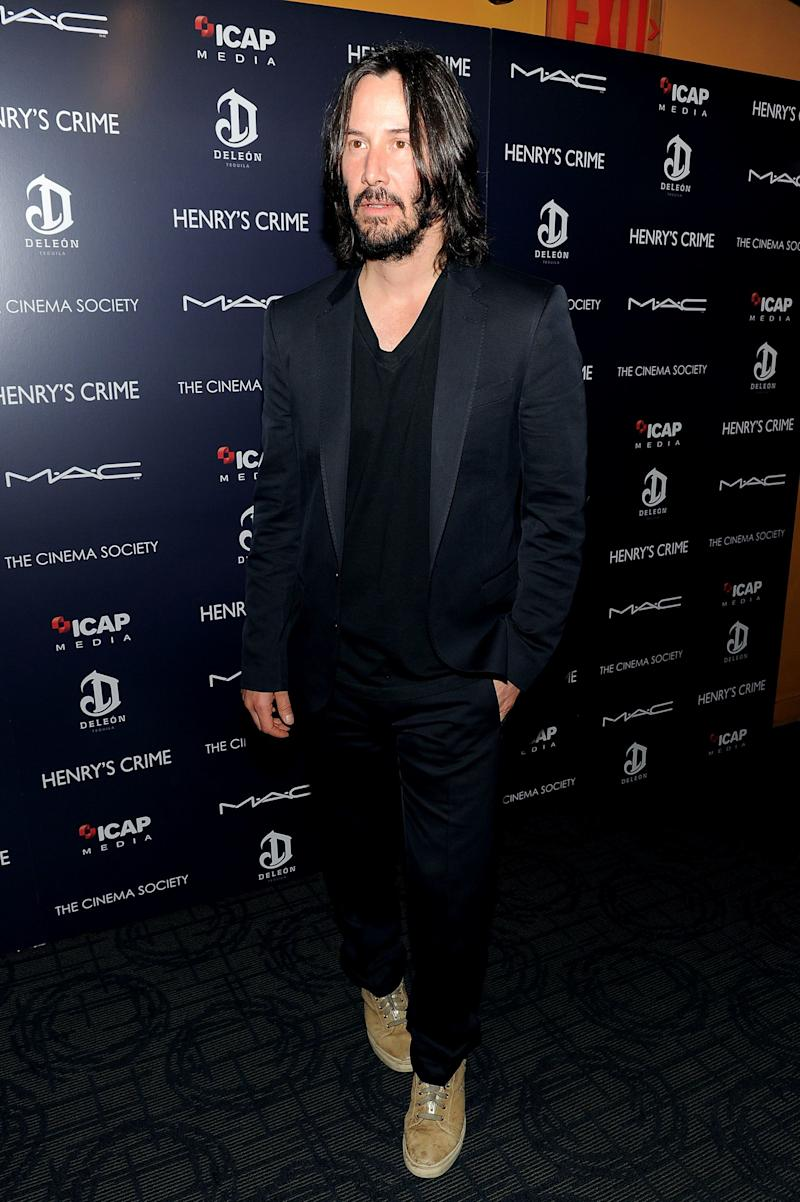 Keanu Reeves attends the Cinema Society with DeLeon Tequila and Moving Pictures Film & Television screening Of 'Henry's Crime' at Landmark's Sunshine Cinema on April 4, 2011 in New York City.