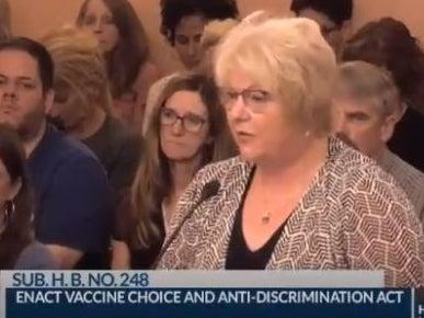 """<p>Dr Sherri Tenpenny, who told the Ohio legislature that coronavirus vaccines """"magnetize"""" people and suggested they """"interface"""" with 5G cellular towers</p> (Screengrab)"""