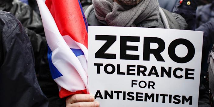 Demonstrators stage a protest against anti-Semitism in Britain's Labour Party  in 2018 amidst ongoing criticism of the party and its leader, Jeremy Corbyn, for acting insufficiently to rid anti-Semitic attitudes from among Labour ranks.