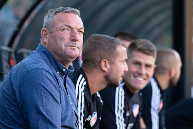 FC Cincinnati head coach Ron Jans said he was singing along to a song in the locker room. (Photo by Adam Lacy/Icon Sportswire via Getty Images)