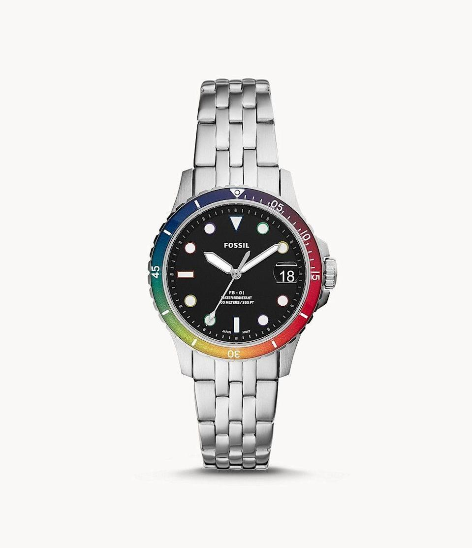 """<p><strong>Fossil</strong></p><p>fossil.com</p><p><strong>$99.00</strong></p><p><a href=""""https://go.redirectingat.com?id=74968X1596630&url=https%3A%2F%2Fwww.fossil.com%2Fen-us%2Fproducts%2Flimited-edition-pride-watch%2FLE1111.html&sref=https%3A%2F%2Fwww.goodhousekeeping.com%2Fclothing%2Fg32934454%2Fpride-clothing-apparel-accessories%2F"""" rel=""""nofollow noopener"""" target=""""_blank"""" data-ylk=""""slk:Shop Now"""" class=""""link rapid-noclick-resp"""">Shop Now</a></p><p>Now you can wear pride on your wrist, too! This limited-edition watch from Fossil features the colors of the rainbow flag — plus, a portion of proceeds will benefit the <strong><a href=""""https://hmi.org/"""" rel=""""nofollow noopener"""" target=""""_blank"""" data-ylk=""""slk:Hetrick-Martin Institute"""" class=""""link rapid-noclick-resp"""">Hetrick-Martin Institute</a>,</strong> thenation's oldest and largest organization devoted to serving the needs of LGBTQ youth.</p><p><strong>RELATED: </strong><a href=""""https://www.goodhousekeeping.com/life/g32781947/lgbtq-rights-timeline/"""" rel=""""nofollow noopener"""" target=""""_blank"""" data-ylk=""""slk:Here's What the Fight for LGBTQ Rights Has Looked Like Through the Years"""" class=""""link rapid-noclick-resp"""">Here's What the Fight for LGBTQ Rights Has Looked Like Through the Years</a> </p>"""