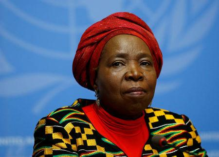 FILE PHOTO: Nkosazana Clarice Dlamini-Zuma, African Union Commission Chairperson and former South African Minister of Health, Minister of Foreign Affairs, and Minister of Home Affairs attends a news conference at the European headquarters of the United Nations in Geneva, Switzerland, May 24, 2016.  REUTERS/Denis Balibouse/File Photo