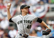 New York Mets starting pitcher Jacob deGrom (48) delivers in the fourth inning of a baseball game against the Atlanta Braves, Monday, May 28, 2018, in Atlanta. (AP Photo/John Bazemore)
