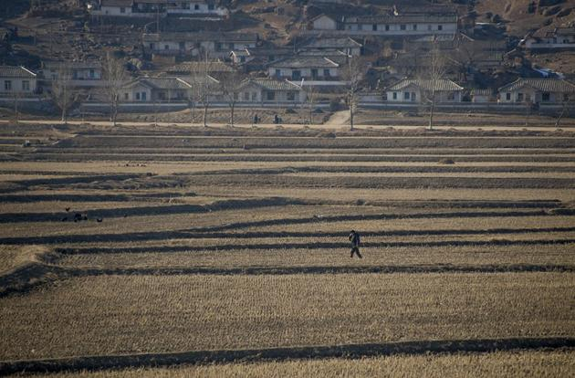 A man walks through the North Korean countryside in February 2012. North Korea is a very mountainous country with only 14% of the land being used for farming. The country has trouble feeding its people and relies on food aid from other countries.