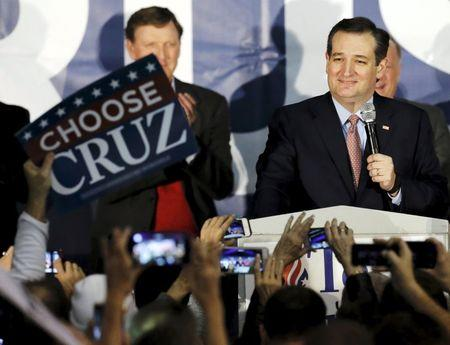 U.S. Republican presidential candidate Ted Cruz speaks after winning at his Iowa caucus night rally in Des Moines