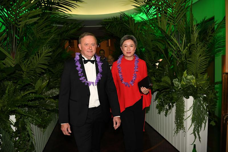 Opposition Leader Anthony Albanese and Senator Penny Wong attend the annual press gallery Midwinter Ball at Parliament House on September 18, 2019 in Canberra, Australia. (Photo by Tracey Nearmy/Getty Images)