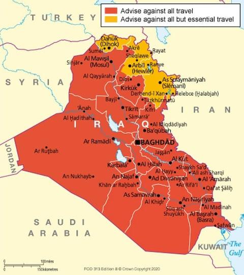 Foreign and Commonwealth office advice on travel to Iraq