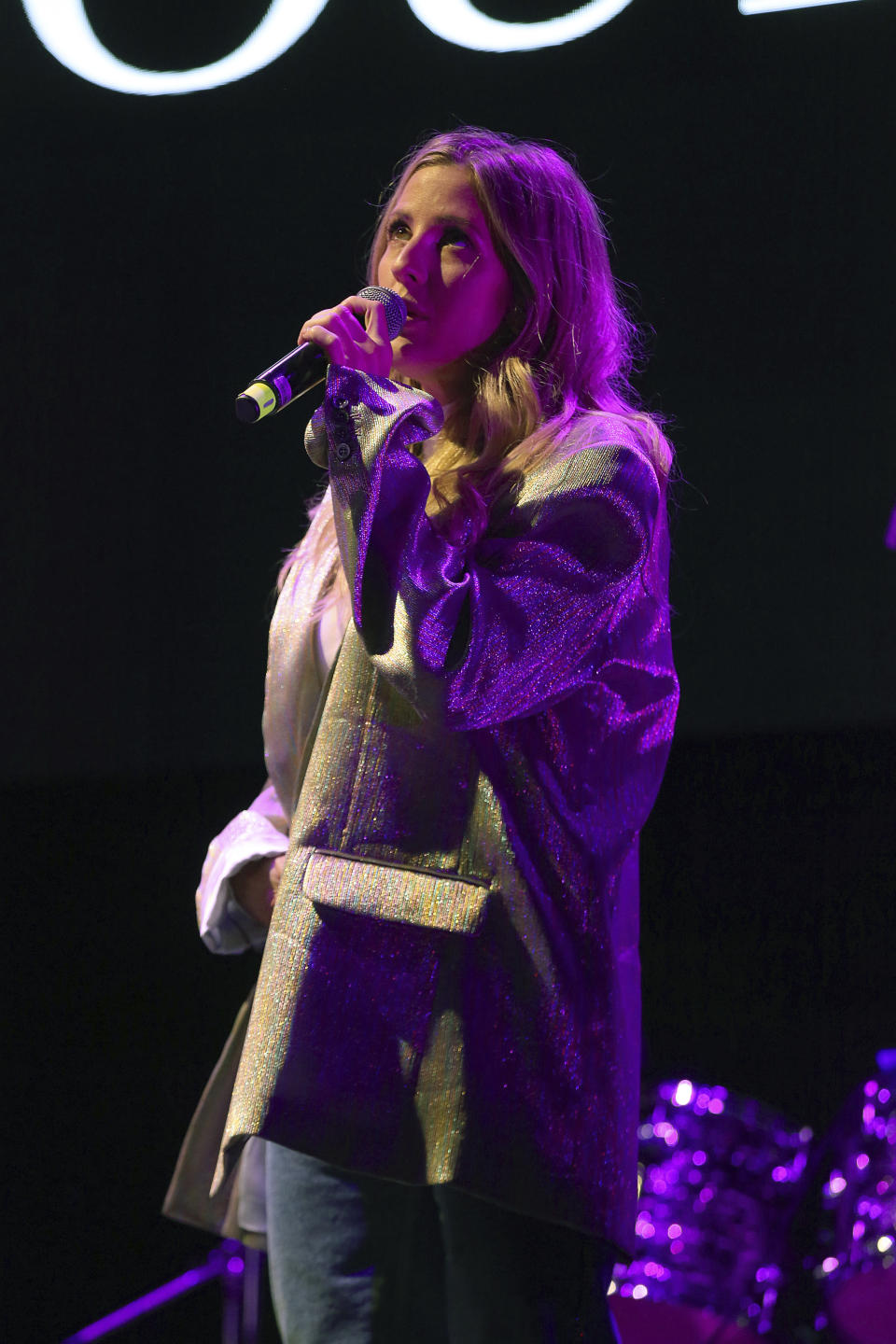 """Ellie Goulding performs live on stage at """"The World's Biggest Sleep Out"""" event at The Rose Bowl on Saturday, Dec. 7, 2019, in Pasadena, Calif. (Photo by Willy Sanjuan/Invision/AP)"""