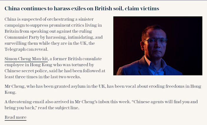 China continues to harass exiles on British soil, claim victims