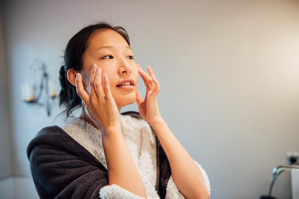 """<p>Today, time how long it takes you to complete your <a href=""""https://www.popsugar.com/beauty/best-daytime-skincare-products-for-combination-skin-47007463"""" class=""""link rapid-noclick-resp"""" rel=""""nofollow noopener"""" target=""""_blank"""" data-ylk=""""slk:morning skincare routine"""">morning skincare routine</a> and see if you can add an extra minute or two, Mancao said. """"Make this a mindful self-care practice where you are massaging the products into your skin,"""" she said. That way, you're making self-care part of your routine as well as letting yourself slow down instead of rushing through your face-washing ritual, which can create stress. </p>"""