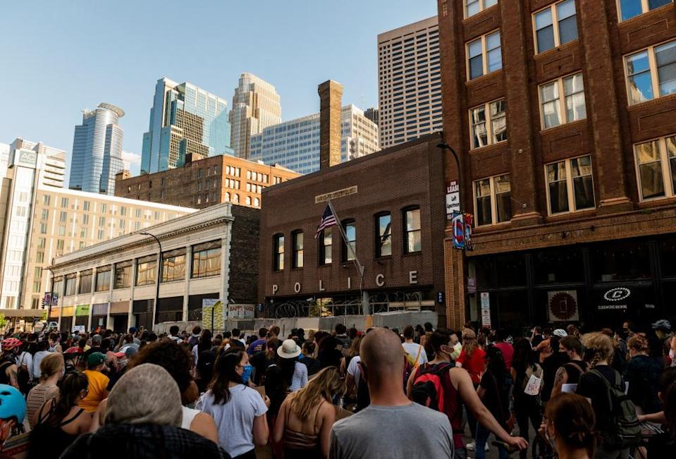 Protesters gather outside the First Police Precinct Station on June 11, 2020 in Minneapolis, Minnesota. The demonstration called for police reform and justice for George Floyd who was killed by members of the Minneapolis Police Department on May 25.