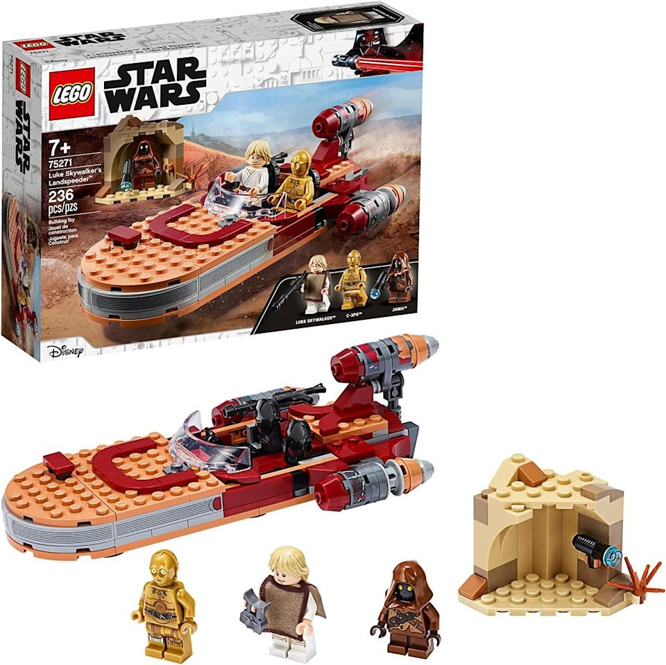 "<p><a href=""https://www.popsugar.com/buy/Lego-Star-Wars-Luke-Skywalker-Landspeeder-551179?p_name=Lego%20Star%20Wars%20Luke%20Skywalker%27s%20Landspeeder&retailer=amazon.com&pid=551179&price=30&evar1=moms%3Aus&evar9=47243673&evar98=https%3A%2F%2Fwww.popsugar.com%2Ffamily%2Fphoto-gallery%2F47243673%2Fimage%2F47243749%2FLego-Star-Wars-Luke-Skywalker-Landspeeder&list1=toys%2Ctoy%20fair%2Ckid%20shopping%2Ckids%20toys&prop13=api&pdata=1"" class=""link rapid-noclick-resp"" rel=""nofollow noopener"" target=""_blank"" data-ylk=""slk:Lego Star Wars Luke Skywalker's Landspeeder"">Lego Star Wars Luke Skywalker's Landspeeder</a> ($30) has 236 pieces and is best suited to kids ages 7 and up.</p>"