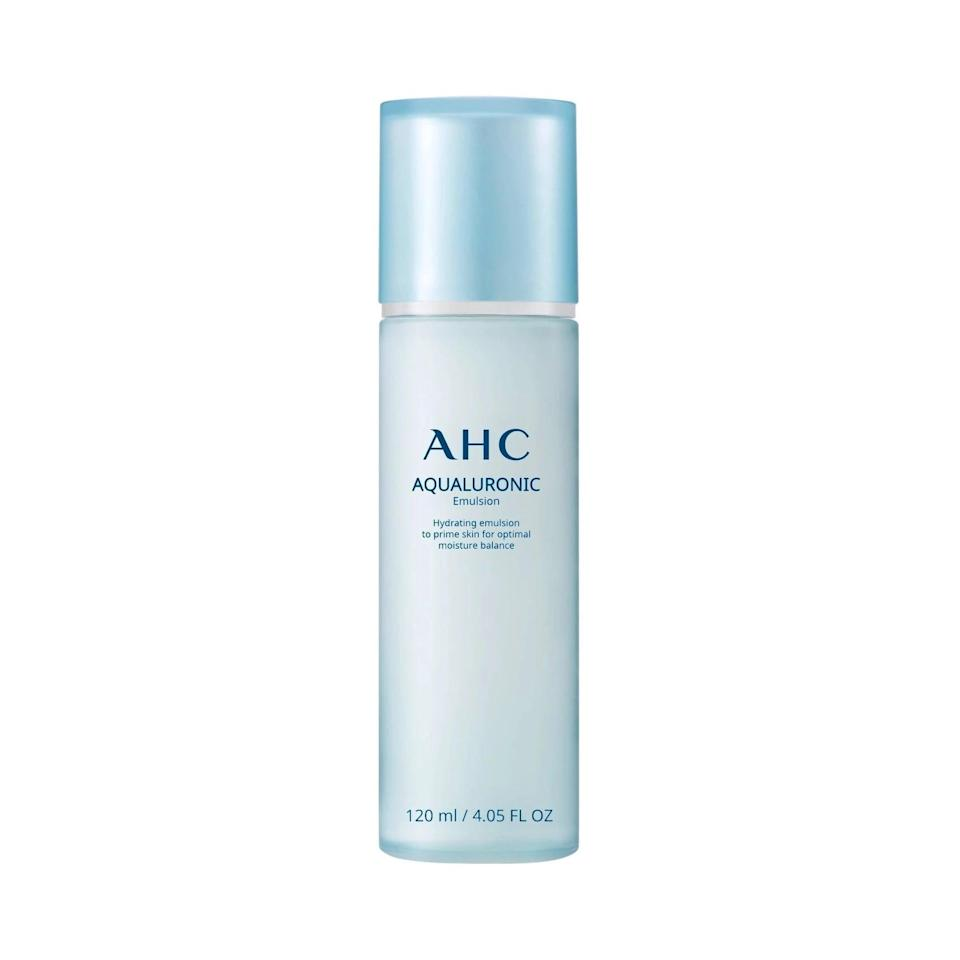 <p>If you have dry skin, prime your complexion with the <span>AHC Aqualuronic Hydrating Emulsion</span> ($27) before you go in with your serums. It will give your skin an extra boost of hdyration and also help your serums absorb better. It's a lightweight formula with a milky texture absorbs instantly without stickiness to give you supple skin.</p>
